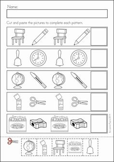 Kindergarten Back to School Math & Literacy Worksheets and Activities. 135 pages. A page from the unit: AB patterns