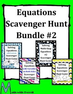 Get students up and moving!  This is a great addition to any solving equations unit.  My students always love seeing a scavenger hunt on the agenda.  Topics include solving equations with fractions, equations with variables on both sides, and multi-step equations.
