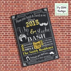 Wig & stache invitation new year bash wig and mustache 2015 new year party by myooakboutique