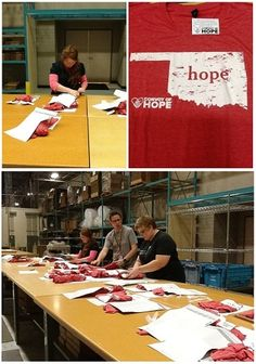 Mardel employees proudly shipping out Convoy of Hope t-shirts. 100% of the profits go toward the #Oklahoma #tornado relief fund! Get your t-shirt here & help give to the fund!