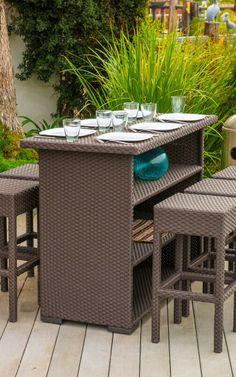 Outdoor cabana bar seating