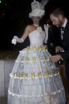 Strolling champagne table, human table, white champagne table for events, entertainment, living table