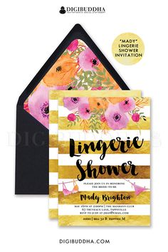 Gold stripe Lingerie Shower invitation,with beautiful bold watercolor flowers in fuchsia hot pink, orange and blush pink. Black brush script and bra and panties details. Boho chic floral envelope liner and gold shimmer envelopes also available, at amazon.com/handmade/digibuddha