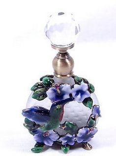 Glass jeweled hummingbird perfume bottle