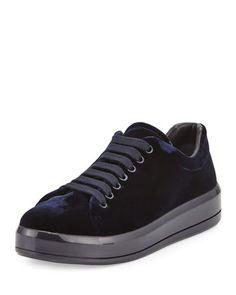 Velvet+Microsole+Low-Top+Sneaker+by+Prada+at+Bergdorf+Goodman.