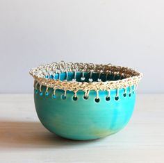 Ceramic Bowl Trinket Dish Jewelry Holder Earrings by PotsbyNives