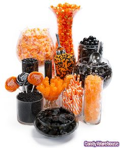 Halloween Candy Buffet    A delicious assortment of sweets in colors of black and orange will make this fun candy buffet the hit of your Halloween party or event- want my candy table to look like this!