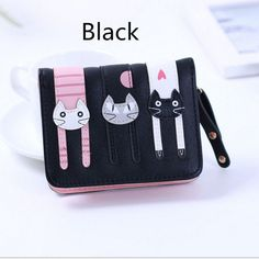 2017 New Women Cute PU Leather Hasp Cartoon Cat Short Wallet Animal Change Purse Card Holder Girls Handbag Free Shipping P361