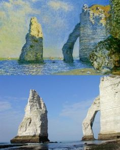 past / present Claude Monet L'Aiguille et la falaise d'Aval 1885