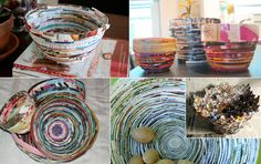 Definitely taking on this DIY next! I have a ton of magazines laying around and this will make them super useful, I can stash all my knick-knacks in these little bowls, or even decorate existing pots or vases. DIY pix via: 1) A Little Hut, 2) Indie Public, 3) Craftster, x2, 4) Esprit Cabane