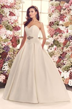 Gown 1916 | 2014 Fall Collection | Mikaella Bridal | Available Colours : Diamond (Shown removable Sash with Beaded embellishment at waist also Pleated skirt with side Pockets)