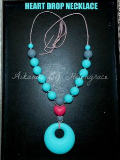 Hearts Silicone Teething Beads Necklace for Mum /& Baby Teether Aqua or Red