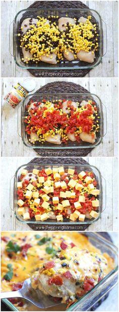 One Dish Queso Chicken Bake {Easy Dinner Recipe}
