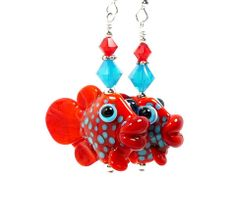 Red and Turquoise Lampwork Fish Earrings