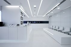 For the future I always think of a stark white look. This is a cool tron-like Laboratory Design Games Design, Flush Door Design, Innovation Lab, White Lab, Dental Office Design, Clinic Design, Lighting System, Wall Lighting, Retail Design