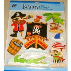 PIRATE DECOUPAGE, 3-D Childrens Wall Stickers for Boys Bedroom or Childrens Playroom (Kids Stickarounds, Pirate Ship, Treasure Chest, Crocodile): Amazon.co.uk: Kitchen & Home