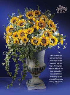 flowers& magazine March 2015 mother's day floral arrangement sunflowers rosemary ivy urn manzanita oncidium orchids gold wire modern flower bouquet