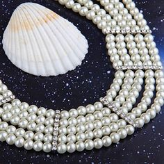 """Round White Faux Pearl 5 Strands Necklace Choker 0.24"""""""