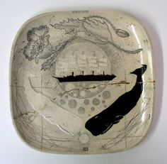 Mud into Gold. Platter by Diana Fayt From her series of scrimshaw-inspired pottery Ceramic Clay, Ceramic Plates, Ceramic Pottery, Pottery Art, Decorative Plates, Tadelakt, Sculpture, Stoneware, Diana