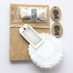 kraft gift wrap kit . silhouette doilies by lovepaperlove on Etsy