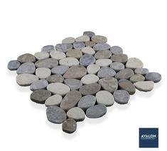 Cobbles 11 3/4x11 3/4 Natural Stone in Sterling Megamix   Starting at $17.99/Sheet   #naturalstone #naturalstonetile #pebbletile