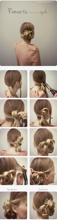 romantic and easy up do. I did something like this for prom, but using the curling iron seems to make it neater