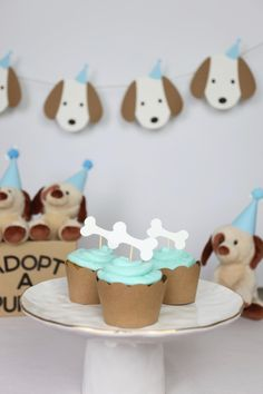 Puppy Cupcake Toppers Dog Bone Adopt a Puppy Puppy party Dog Themed Parties, Puppy Birthday Parties, Puppy Party, Dog Birthday, Paris Birthday, Puppy Cupcakes, Cupcake Day, Puppy Gifts, Dog Cakes