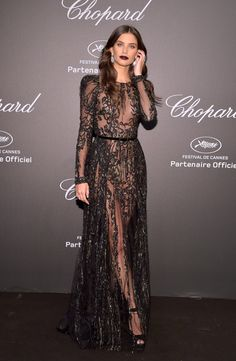 "Sara Sampaio attends the Chopard ""SPACE Party"", hosted by Chopard's co-president Caroline Scheufele and Rihanna, at Port Canto on May 19, 2017, in Cannes, France."