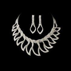 Silver Clear Rhinestone Necklace and Earrings Bridal Jewelry Set StressAwayBridalShop.com #wedding
