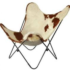Silver Chrome Frame Structure Gaucho Cowhide Butterfly Chair
