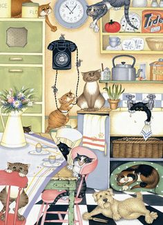 """""""Crazy Cats in Household Heaven In The Kitchen"""" by Lisa Jane Smith"""