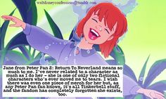 """"""" """"Jane from Peter Pan Return To Neverland means so much to me. I've never related to a character as much as I do her - she is one of only two fictional characters who's ever moved me to tears. I wish there was even one piece of merch for her but,. Disney Jane, Cute Disney, Disney Magic, Walt Disney, Disney Memes, Disney Cartoons, Disney Trivia, Peter Pan And Tinkerbell, Peter Pan Disney"""