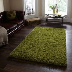 Think Rugs Amazon AM-10 Shaggy Indian Hand Tufted Rug, Green, 120 x 170 Cm
