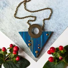 Geometric Necklace Triangle Necklace  Minimalist by EvaAndreDesign