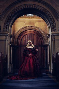 Ai Tenshi Misha Bernadette Newberry Photography Romantic Threads Renaissance Gothic Red Dress Church Chapel