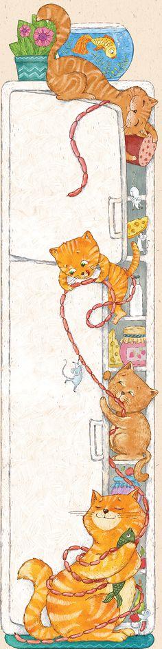 """иллюстрация для детского ростомера """"коты воруют сосиски"""""""