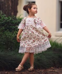 Ivory Floral Bridgette Dress   Trish Scully Child
