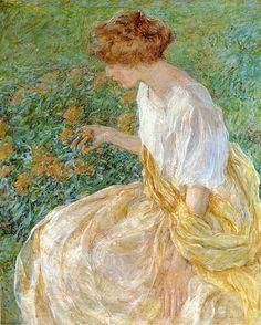 Robert Reid (American, 1862-1929) - The Yellow Flower aka The Artist's Wife in the Garden