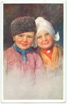 Old painting of Dutch children in traditional clothing.