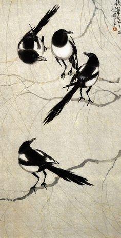 《四喜图》 近代 徐悲鸿 Japan Painting, Ink Painting, Watercolor Art, Chinese Artwork, Chinese Painting, Domino Art, Tole Painting Patterns, Traditional Japanese Art, Tinta China
