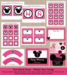 Pink Minnie Mouse Birthday Invitation Party Package by Honeyprint, $35.00