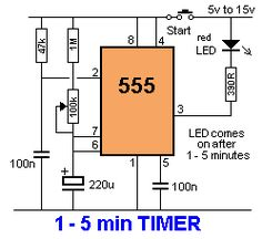 a timer. Replace LED section with a relay and diode. Electronics Mini Projects, Electronics Basics, Hobby Electronics, Electrical Projects, Electronics Components, Electronic Circuit Design, Electronic Engineering, Electrical Engineering, Electric Circuit