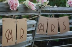 Mr & Mrs Kraft Card Wedding Chair Back by sallycinnamonsigns, £3.50