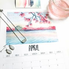 April is looking pretty amazing already!  Get this free April printable and print by signing up for the newsletter . @priscillageorgeart