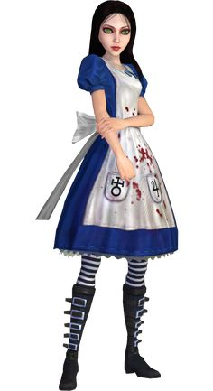 The Classic dress is Alice Liddell's main costume in her adventures. It is based on the dress. Dark Alice In Wonderland, Adventures In Wonderland, Geeks, Alice Cosplay, Alice Liddell, Chibi, Alice Madness Returns, Iconic Dresses, Cosplay Characters
