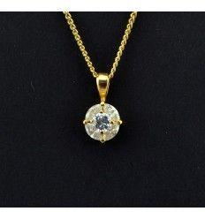 """Smukt """"guld"""" vedhæng med flot klar sten - 919313"""