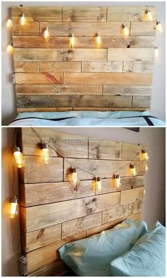 Scrap Wood Pallet Projects You Can Easily Build Wooden Pallet Ideas Scrap Wood Pallet Projects You Can Easily Build Wooden Pallet Ideas Emilia Gisele frisurengalerien Furniture For Home Check out nbsp hellip frame with lights Rustic Wood Headboard, Wood Pallet Beds, Wooden Pallets, Pallet Furniture, Furniture Projects, Furniture Stores, Headboard With Lights, Headboard Frame, Pallet Bed With Lights