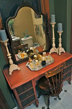 This vaniy has style. Earthy Terra Rosa Paint , distressed and antiqued w/ walnut stain...from ..Pine Creek Style