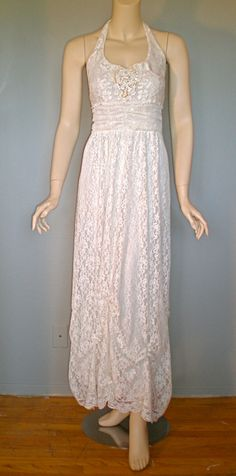 Vintage LACE Wedding Dress Halter Sequins Draped by MuseClothing.