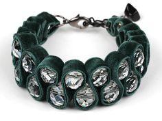 Items similar to Dark Green Ribbon Cuff Bracelet on Etsy Ribbon Bracelets, Ribbon Jewelry, Fabric Jewelry, Jewelry Crafts, Handmade Jewelry, Beaded Bracelets, Unique Jewelry, Craft Accessories, Fashion Accessories